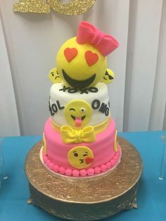 A cute Emoji cake at Lanyia's 13th Emoji Birthday Celebration! See more party ideas at CatchMyParty.com