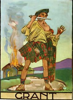 Grant -print from a little-known book called Clanlands, written & illustrated by William Stewart in 1928 for the London Midland & Scottish Railway Company (LMSR). Stewart's choice of clan subjects corresponds with some of the routes routes operated by the LMSR.