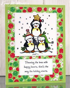 Frankie Helps Craft, Toni M Maddox, handmade Christmas holiday card, cute, penguins, Copic, Great Impressions