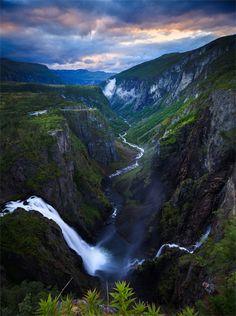 Vøringfossen, Hordaland Fylke, Norway - Norwegian waterfall. ...