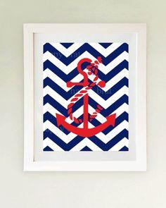 Nautical Anchor Art Print 'Modern Art Prints 8 x 10 by HappyBrat. $12.00 USD, via Etsy.