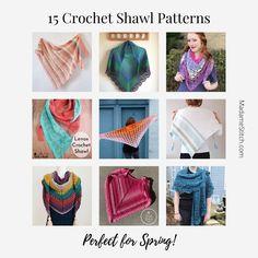 15 Crochet Shawl Patterns Perfect for Spring | MadameStitch Crochet Prayer Shawls, Crochet Shawls And Wraps, Crochet Triangle, Triangle Scarf, Crochet Designs, Crochet Patterns, Wrap Pattern, Single Crochet Stitch, Shawl Patterns