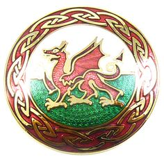 Welsh Dragon   and   Knots Round Enamel Brooch