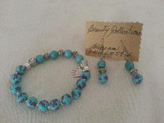 Bracelet and earrings set in turquoise