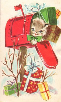 Vintage Christmas Kitten in a Mailbox Cat Christmas Cards, Christmas Mail, Christmas Kitten, Christmas Graphics, Xmas Cards, Christmas Greetings, Vintage Christmas Images, Retro Christmas, Vintage Holiday