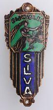 Vintage 1920s? SILVA Belgium Cloisonné Bicycle Head Badge Emblem Name Plate
