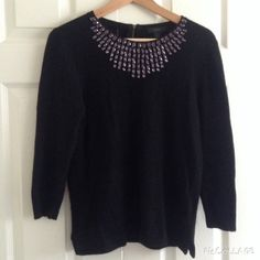 J. Crew Wool Blend Sweater Jeweled Top Jeweled Wool blend sweater with 3/4 sleeves. Worn just twice. Great condition. J. Crew Sweaters