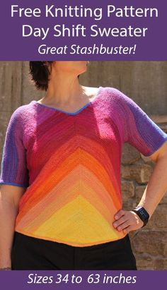 Free Knitting Pattern for Day Shift Sweater Stashbuster - Striped pullover is designed to be knit with mini-skeins or leftover yarn. It can be knit flat or in the round. Sizes Bust 34 (38, 41, 46, 52, 59, 63) inches. Designed by Stacy Collingham. Fingering weight yarn. Poncho Sweater With Sleeves, Poncho Tops, Sweater Knitting Patterns, Knit Patterns, Free Knitting, Zig Zag Dress, Dk Weight Yarn, Moss Stitch, Butterfly Dress