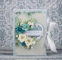 Wedding card-book by Monia - Cards and Paper Crafts at Splitcoaststampers Wedding Card Book, Wedding Cards, Scrapbooking, Scrapbook Cards, Pretty Cards, Cute Cards, 50th Anniversary Cards, Shabby Chic Cards, Paper Flower Tutorial