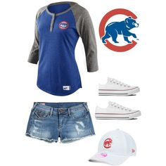 Cute Chicago Cubs outfit by m-loconte on Polyvore featuring polyvore, fashion, style, NIKE, True Religion, Converse and New Era