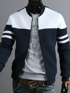 Vogue Striped Braid Spliced Rib Hem Color Block Stand Collar Long Sleeves Slimming Jacket For Men