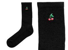 Cherry socks crew socks black socks womens socks novelty socks