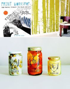Hand-Printing Techniques and Truly Original Projects Jar Packaging, Pickle, Crafts To Do, Package Design, Mason Jars, Label, Diy Projects, Branding, Craft Ideas