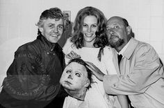 Halloween 2 1981. Dick Warlock out of character with Jamie Leigh Curtiss and Donald Pleasence.