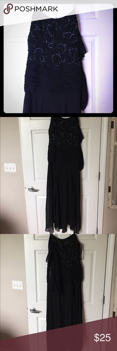 Beaded evening gallon Black spaghetti strap evening gown beaded on the top sheer at the bottom comes with scarf brand new never been worn smoke-free pet free home chicas Dresses Prom
