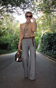 cat eye sunglasses+camel jacket+salt and pepper tweed wide leg pants+leopard print t shirt+louis vuitton bag+long belt+sharp : I love this outfit! Business Casual Outfits, Professional Outfits, Business Attire, Office Outfits, Business Professional, Office Attire, Style Outfits, Mode Outfits, Fall Outfits