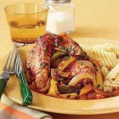 Chicken Cacciatore | MyRecipes.com - used 1 lb of chicken breast with all those veggies.  Was very tasty! I put it over couscous, I will use less couscous next time