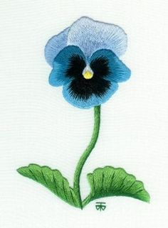 Black and Blue Pansy Needle Painting Embroidery.  Beginner Piece.