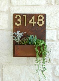 Mid-Century Madness Planter w/ Brass Address Numbers (Free Shipping) by UrbanMettle on Etsy https://www.etsy.com/listing/498937302/mid-century-madness-planter-w-brass