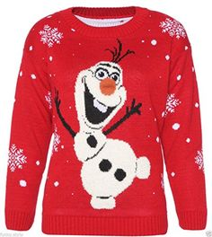 Womens Ladies Snowman Olaf Knitted Christmas Jumper With 3D Nose Sweatshirt Pullover - Red - UK10 - (100% Acrylic) Outofgas http://www.amazon.com/dp/B00NY3FM8K/ref=cm_sw_r_pi_dp_qXHyub1AX4HK5
