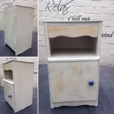 Annie Sloan Chalk Paint - Old White. Matt varnish, Heavily Distressed with a beautiful ceramic blue and white knob.