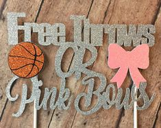 Free Throws or Pink Bows / Buckets or Bows / Basketballs or Bows / Gender Reveal / Gender Reveal Cake Topper / Gender Reveal Baby Shower Gender Reveal Themes, Gender Reveal Party Decorations, Baby Gender Reveal Party, Gender Party, Basketball Gender Reveal, Basketball Baby Shower, Gender Announcements, Baby Girl Announcement, Baby Reveal Cakes