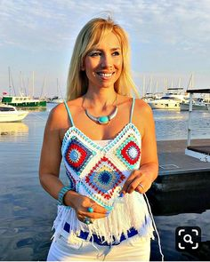 This Pin was discovered by Joh Creative crocheted boho top in cotton Granny square tops Great idea for a beach holiday You can choose any combination of colors I will make to order in any color and size in 1 week Free worldwide shipping Cardigan Au Crochet, Crochet Shawl, Crochet Lace, Beach Crochet, Hippie Crochet, Crochet Socks, Motif Bikini, Tops Boho, Boho Top