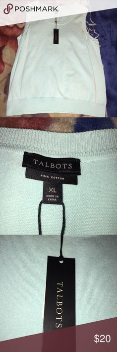mint xl pima cotton talbots sleeveless sweater New with tags,color is prettier than camera is showing, great for spring and summer layering. Mint green , Talbots brand Pima cotton, sleeveless sweater , size XL Tops Sweatshirts & Hoodies
