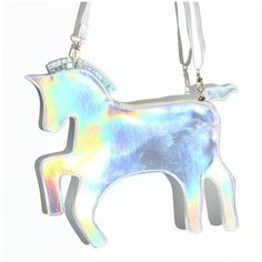 The Last Unicorn Hologram Clutch (315 MXN) ❤ liked on Polyvore featuring bags, handbags, clutches, accessories, purses, jewelry, hologram handbag, man sling bag, sling handbags and man bag