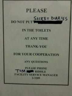 Secret Diaries in the U-Bend