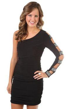 99fe51494cbd0 one shoulder long open bar sleeved tight club dress