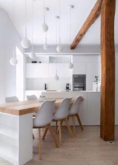 White Kitchen Interior Design With Modern Style 75 Sweet Home, White Kitchen Cabinets, Kitchen Islands, Kitchen White, Kitchen Peninsula, Bamboo Cabinets, Neutral Kitchen, Transitional Kitchen, Kitchen Cabinetry