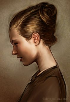"""Profile"" - David Malan {figurative artist beautiful female head woman portrait profile digital cropped painting #loveart}"