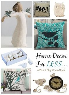 Home Decor ideas, Birds Theme, Clocks, Pillows, love this shabby chic, easy way to restyle any room in your house