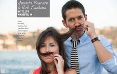 Amanda & Rob humorously make a mustache using Amanda's hair :D They chose @weddingwoo to build their wedding website.