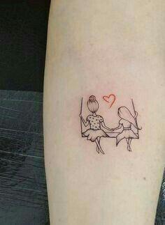Small Tattoo Models Tattoo On The Swing Girl Figured Arm Tattoos Tattoo Mama, Mommy Tattoos, Mother Tattoos, Sister Tattoos, Friend Tattoos, Mini Tattoos, Body Art Tattoos, Small Tattoos, Tatoos