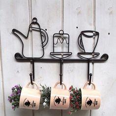 Creative Cups & Kettle Iron Wall Key Holder Rural Mini Metal Hooks Hanger for Keys Black Power Hook Rack Stocked Anzol Cabides Kitchen Wall Units, Kitchen Hooks, Buy Kitchen, Metal Coat Hangers, Hanger Hooks, Wall Hanger, Hook Rack, Clothes Hooks, Wall Key Holder