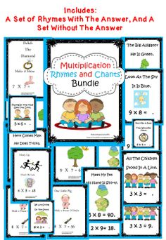 Multiplication Rhymes And Chants - A fun way to help students with fact recall.  My students love these! We use during transition times and as a quick warm-up! #math #multiplication #class