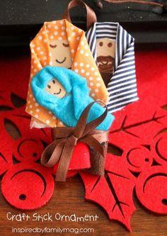 Christmas Nativity Craft Stick Ornament - You can make this nativity ornament in 10 minutes! Nativity Ornaments, Nativity Scenes, Nativity Crafts, Christmas Nativity, Christmas Candy Gifts, Christmas In July, Christmas Carol, Sunday School Crafts, School Days