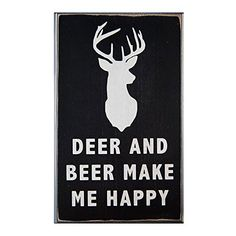 Deer and Beer Make Me Happy Wood Sign for Wall Decor or Gift  PERFECT MAN CAVE GIFT *** You can get more details by clicking on the image.-It is an affiliate link to Amazon. #HomeDecorAccents