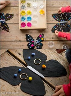 Design Butterfly Wings With Loose Parts - Craft for Kids. Lovely invitation to create to make your own butterfly wings.