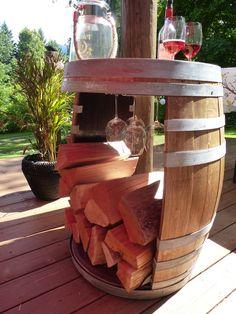 Wine Barrel Firewood Holder $395.00 Firewood Holder, Wine Barrel Furniture, Room Ideas, Diy Projects, Gardening, Crafts, Outdoor, Home Decor, Outdoors