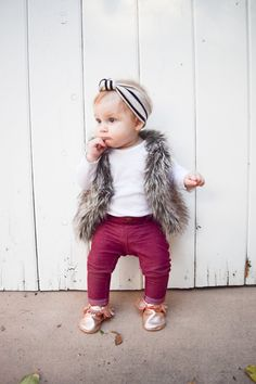 Every time we're in public and Ava is wearing her fur vest, man I feel like a celebrity. Because seriously, what's more adorable than babies and faux fur?   Head on over to the blog to see all of the cuteness and I'm guessing by the end of scrolling through these outfit photos, you're going to want to buy everything on there in a heartbeat!  Baby Fashion - Baby Fur Vest, Rose Gold Baby Moccasins, Baby Headbands