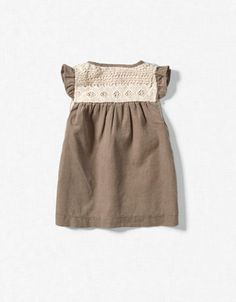 Cord dress with lace edging. Zara Kids.