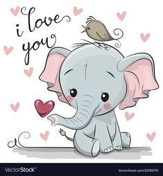 Cartoon Elephant with Heart on white background. Cute Cartoon Elephant with Heart on a white background vector illustration Cute Elephant Drawing, Baby Animal Drawings, Cartoon Drawings Of Animals, Elephant Love, Elephant Art, Elephant Nursery, Elephant Drawings, Cute Elephant Cartoon, Cute Baby Cartoon
