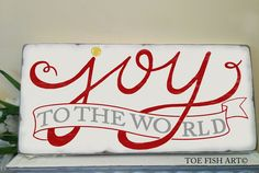 Christmas sign - JOY to the World Typography Word Art Sign Distressed on Wood Christmas Words, Christmas Signs, Christmas Projects, Christmas Themes, Christmas Holidays, Christmas Decorations, Xmas, Holiday Ideas, Christmas Typography