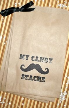 "25 Moustache Theme Brown Retro "" MY CANDY STACHE"" candy buffet bags, children's party,Wedding cake bags,candy station bags, favor bags. $12.00, via Etsy."