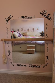 dance mirror and word decals made with the cricut