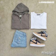 Today's top #outfitgrid is by @johnjunglee. ▫️#JohnElliottCo #Tee ▫️#FearOfGod #Hoodie ▫️#RagAndBone #flatlay #flatlayapp #flatlays