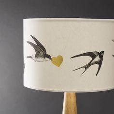 airmai! swallows hand gilded lampshade by mountain & molehill   notonthehighstreet.com